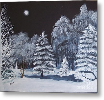 Winter Moonlight In The Country Metal Print by Lucia Grilletto