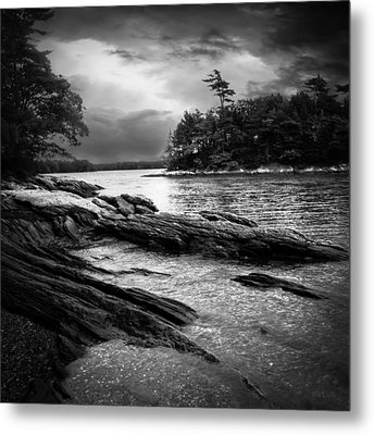 Winter Moonlight Wolfes Neck Woods Maine Metal Print