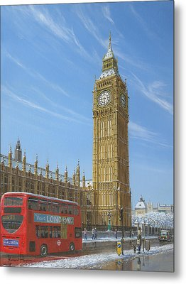 Winter Morning Big Ben Elizabeth Tower London Metal Print by Richard Harpum