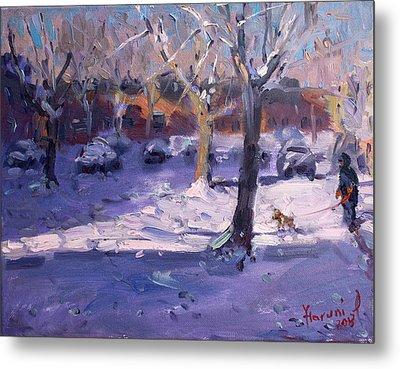 Winter Morning In My Courtyard Metal Print by Ylli Haruni