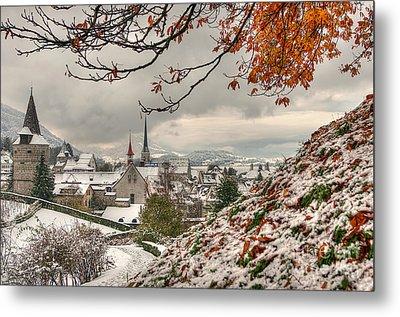 Winter Morning In Zug Metal Print by Caroline Pirskanen