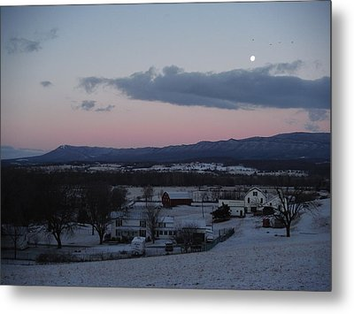 Winter Morning Moon Metal Print