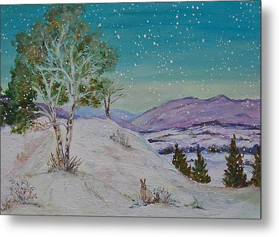 Winter Mountains With Hare Metal Print