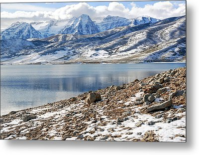 Winter Mt. Timpanogos And Deer Creek Reservoir Metal Print by Gary Whitton