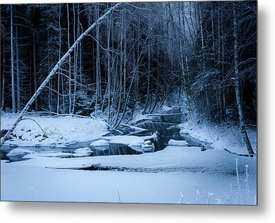 Winter Night At The River Metal Print