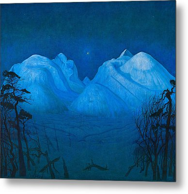 Winter Night In The Mountains Metal Print by Harald Sohlberg