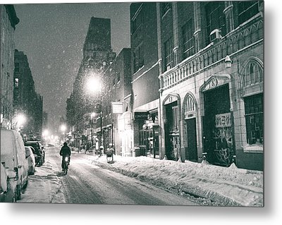 Winter Night - New York City - Lower East Side Metal Print