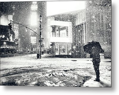 Winter Night - Times Square - New York City Metal Print