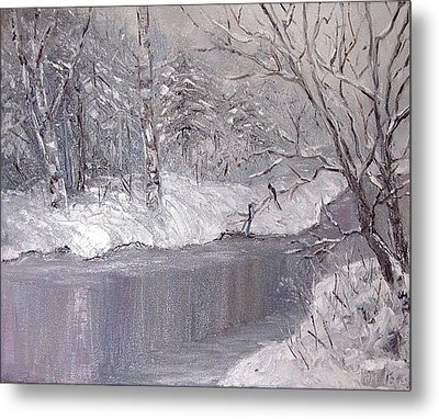 Metal Print featuring the painting Winter by Nina Mitkova