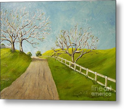 Metal Print featuring the painting Winter Oaks by Terry Taylor