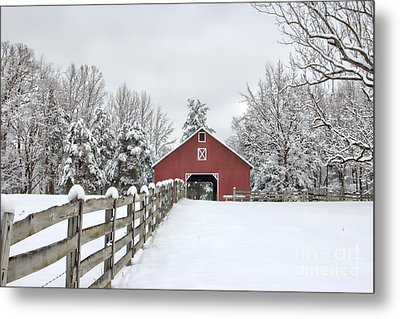 Winter On The Farm Metal Print by Benanne Stiens