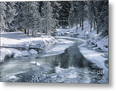 Winter On The Firehole River - Yellowstone National Park Metal Print by Sandra Bronstein