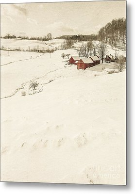 Winter On The Old Farm Metal Print by Edward Fielding