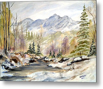 Metal Print featuring the painting Winter On The River by Dorothy Maier