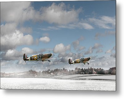 Winter Ops Spitfires Metal Print by Gary Eason