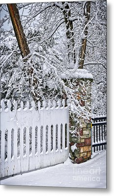 Winter Park Fence Metal Print by Elena Elisseeva