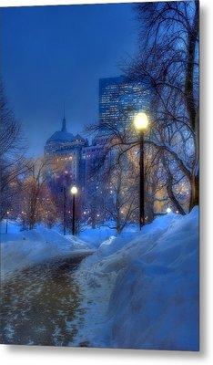 Winter Path - Boston Public Garden Metal Print by Joann Vitali