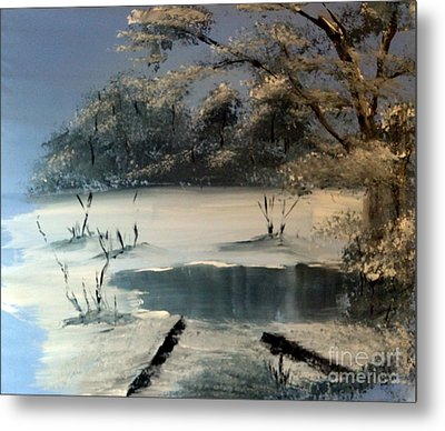 Winter Pond Of Peace Metal Print