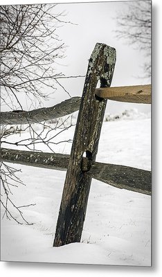 Winter Rail Fence Metal Print