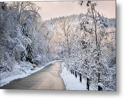 Winter Road In Snowy Forest Metal Print