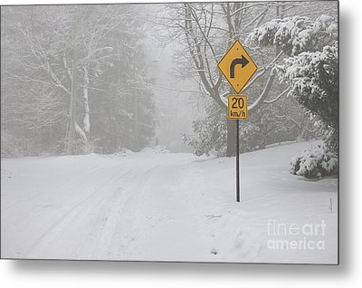 Winter Road With Yellow Sign Metal Print by Elena Elisseeva