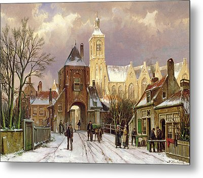 Winter Scene In Amsterdam Metal Print
