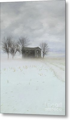 Winter Scene Of A Farmhouse/digital Painting Metal Print