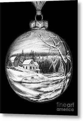 Winter Scene Ornament Metal Print by Peter Piatt