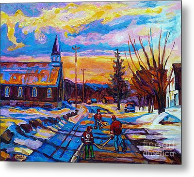 Winter Scene Painting-hockey Game In The Village-rural Hockey Scene Metal Print by Carole Spandau