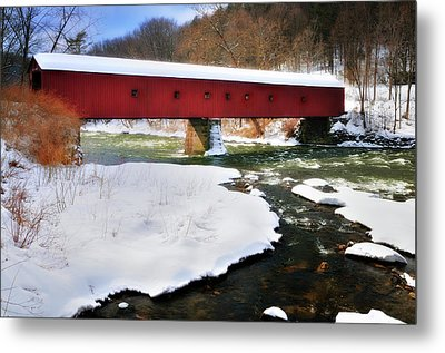 Winter Scene-west Cornwall Covered Bridge Metal Print