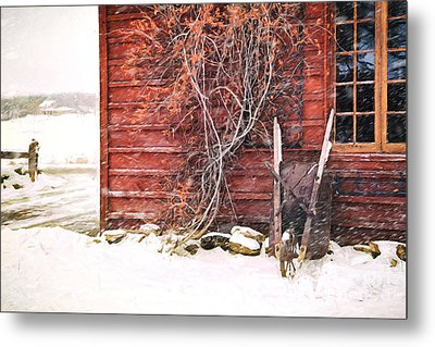 Metal Print featuring the photograph Winter Scene With Barn And Wheelbarrow/ Digital Painting  by Sandra Cunningham