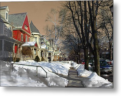 Metal Print featuring the pyrography Winter Scenery  by Viola El