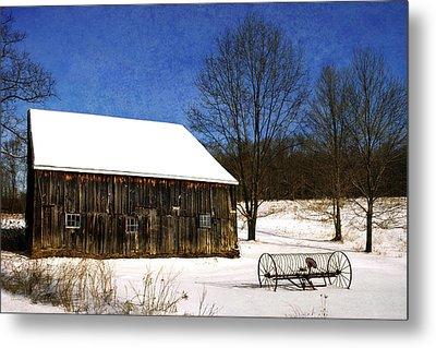 Winter Scenic Farm Metal Print by Christina Rollo