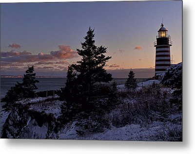 Winter Sentinel Lighthouse Metal Print by Marty Saccone