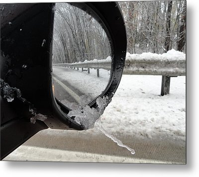 Metal Print featuring the photograph Winter Side View Mirror by Mary Beth Landis