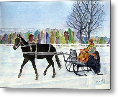 Metal Print featuring the painting Winter Sleigh Ride by Carol Flagg