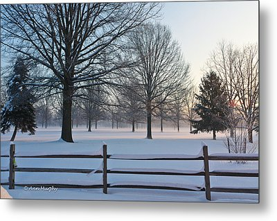 Metal Print featuring the photograph Winter Snow And Shadows by Ann Murphy