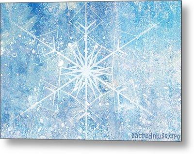Winter Snow Flake Metal Print by Sacred  Muse