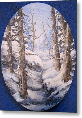 Metal Print featuring the painting Winter Snow by Megan Walsh