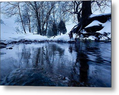 Winter Snow On Stream Metal Print