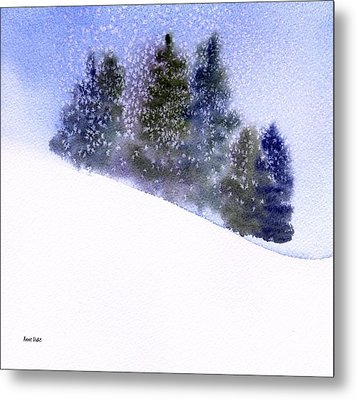 Metal Print featuring the painting Winter Snowfall by Anne Duke