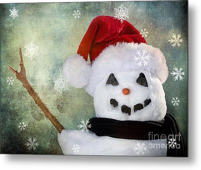 Winter Snowman Metal Print by Cindy Singleton