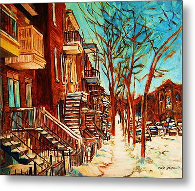 Metal Print featuring the painting Winter Staircase by Carole Spandau
