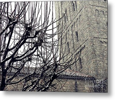 Winter Storm At The Cloisters 2 Metal Print by Sarah Loft