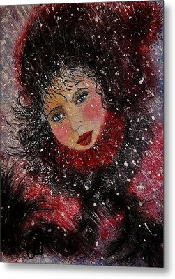 Metal Print featuring the painting Winter Story... by Cristina Mihailescu