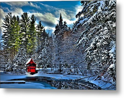 Winter Sun On The Red Boathouse Metal Print by David Patterson