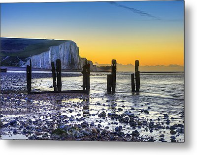 Winter Sunrise At Low Tide At Seven Sisters Cliffs Metal Print by Matthew Gibson