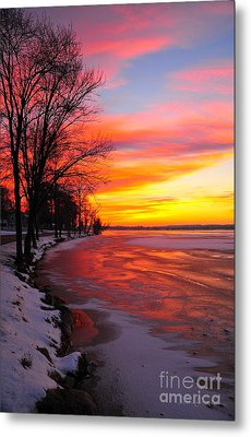 Metal Print featuring the photograph Winter Sunrise On Lake Cadillac by Terri Gostola