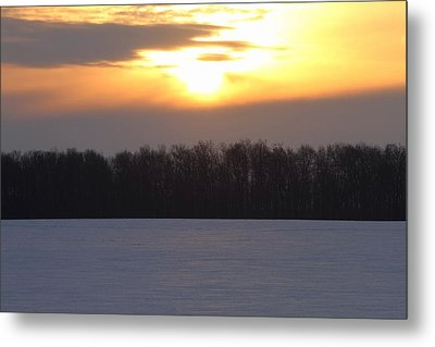 Winter Sunrise Over Forest Metal Print by Dan Sproul