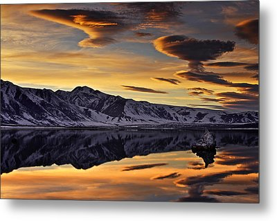 Metal Print featuring the photograph Winter Sunset At Mono Lake by David Orias